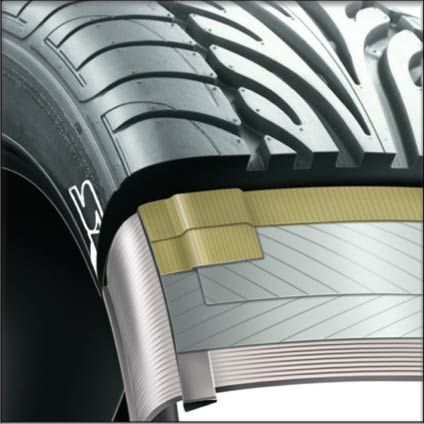 Technical illustration cutaway illustration realistic style. Realistic Technical illustration of a tyre for Dunlop UK Advertising agency on behalf of Dunlop UK marketing.