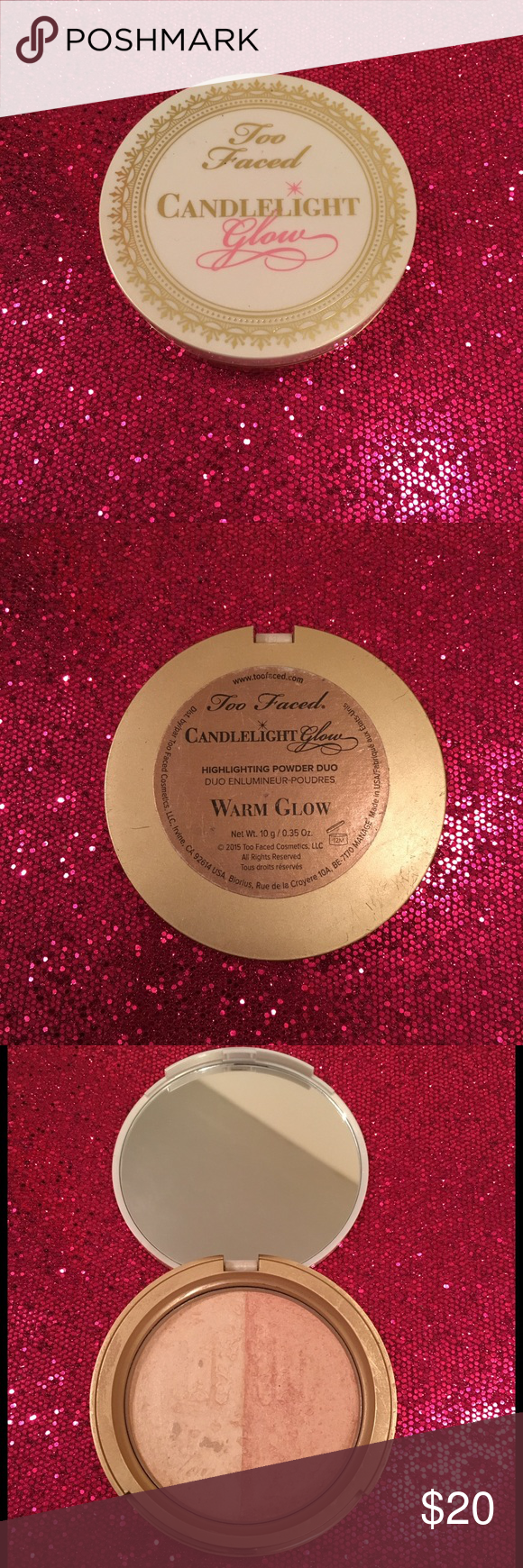 Too Faced Candlelight Glow Highlighting Powder Duo Gently used. Has since been sanitized. Too Faced Candlelight Glow Highlighting Powder Duo in the shade 'Warm Glow'. Warm glow features a champagne and peach combo. Too Faced Makeup