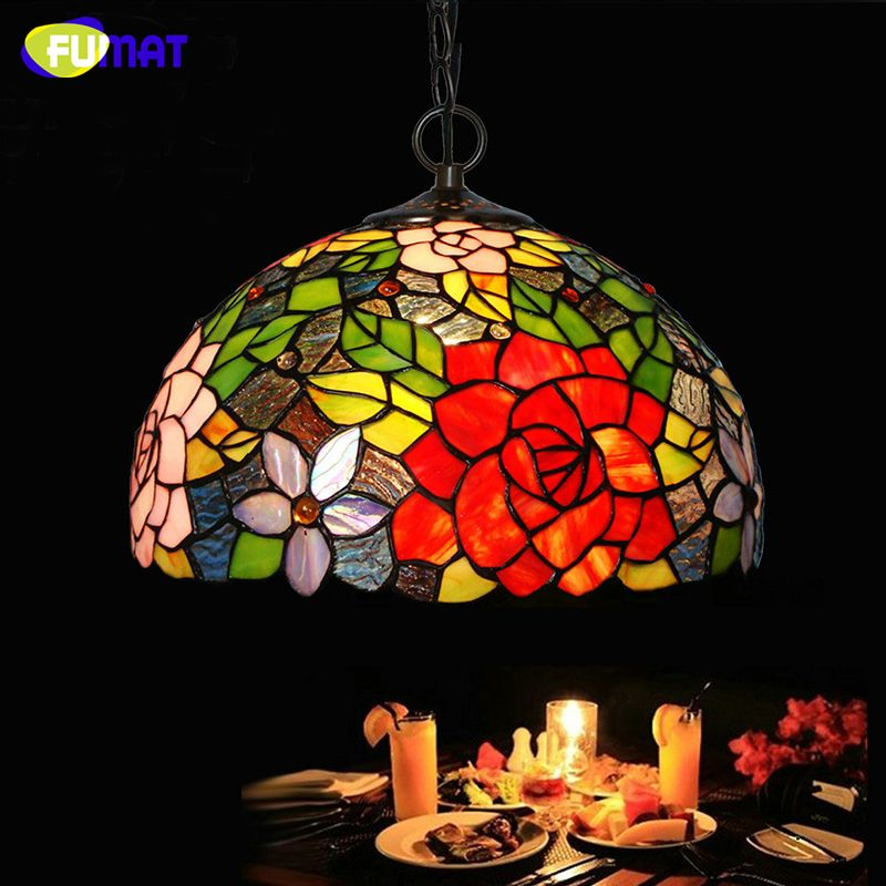 Fumat Stained Glass Pendant Lamp Rose Lamp Shade Glass Light For Captivating Stained Glass Light Fixtures Dining Room 2018