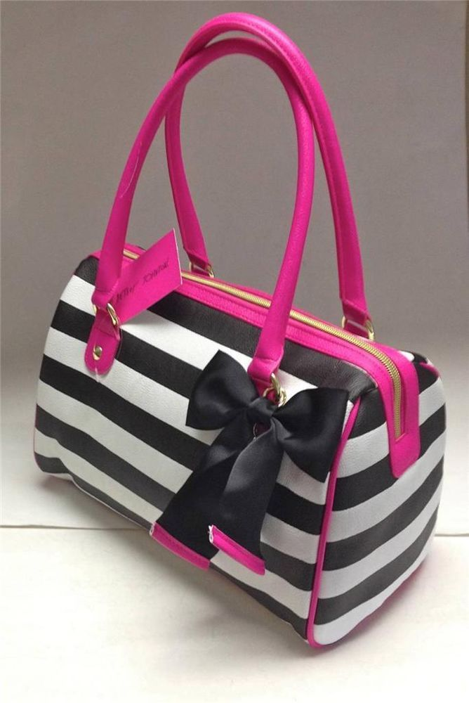 e3514c96d038 New BETSEY JOHNSON Printed PVC Speedy Satchel Black White Stripe   Pink  Trim Bag
