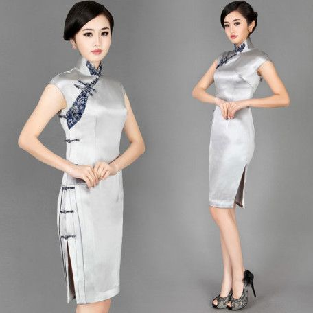 Silver grey Chinese modern silk qipao cheongsam dress 001