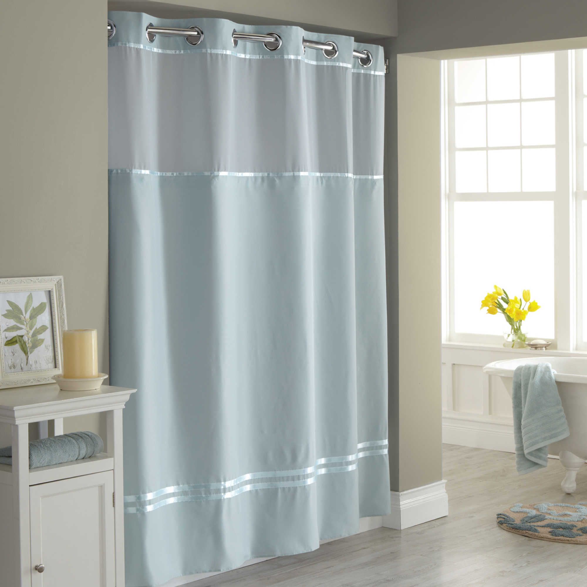 Hookless® Escape 71-Inch x 74-Inch Fabric Shower Curtain and ...