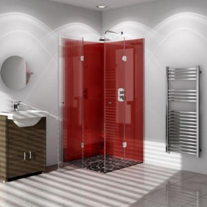 Vistelle High Gloss Shower Panelling Red 5055341704198 B Q