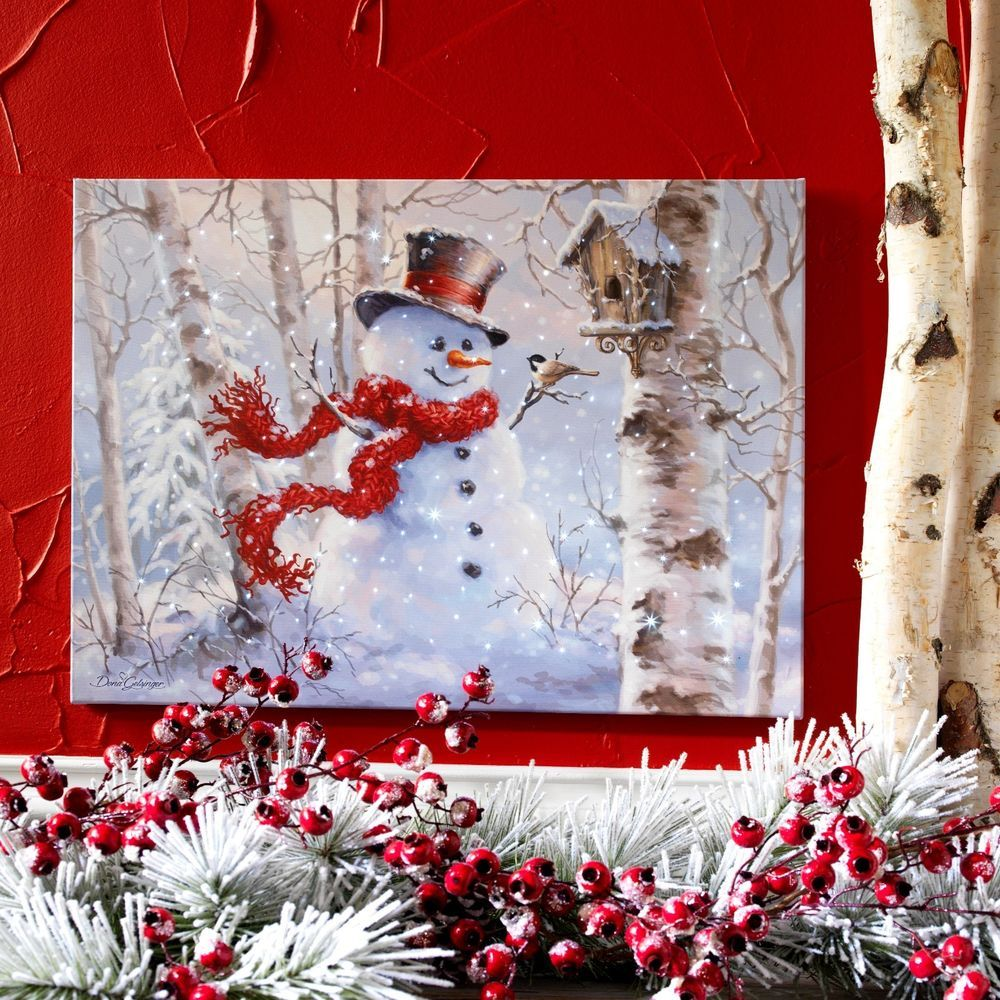 Fiber Optic Lighted Canvas Snowman Scene  24""