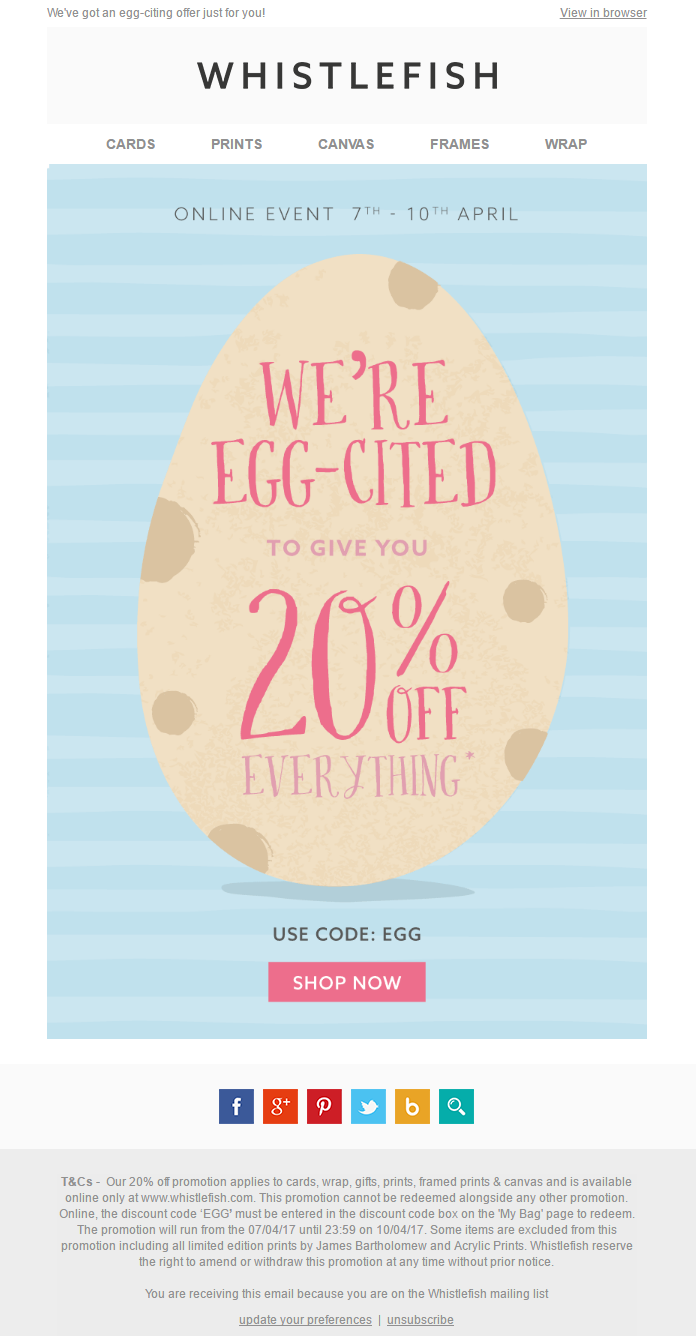 Easter discount email with coupon from whistlefish emailmarketing easter discount email with coupon from whistlefish emailmarketing email marketing easter negle Gallery