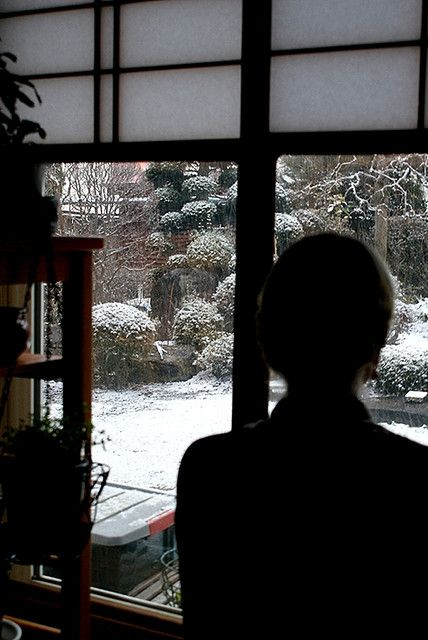 """witchsauce:  Sitting by the porch in Morioka, Japan. December 2009.  """