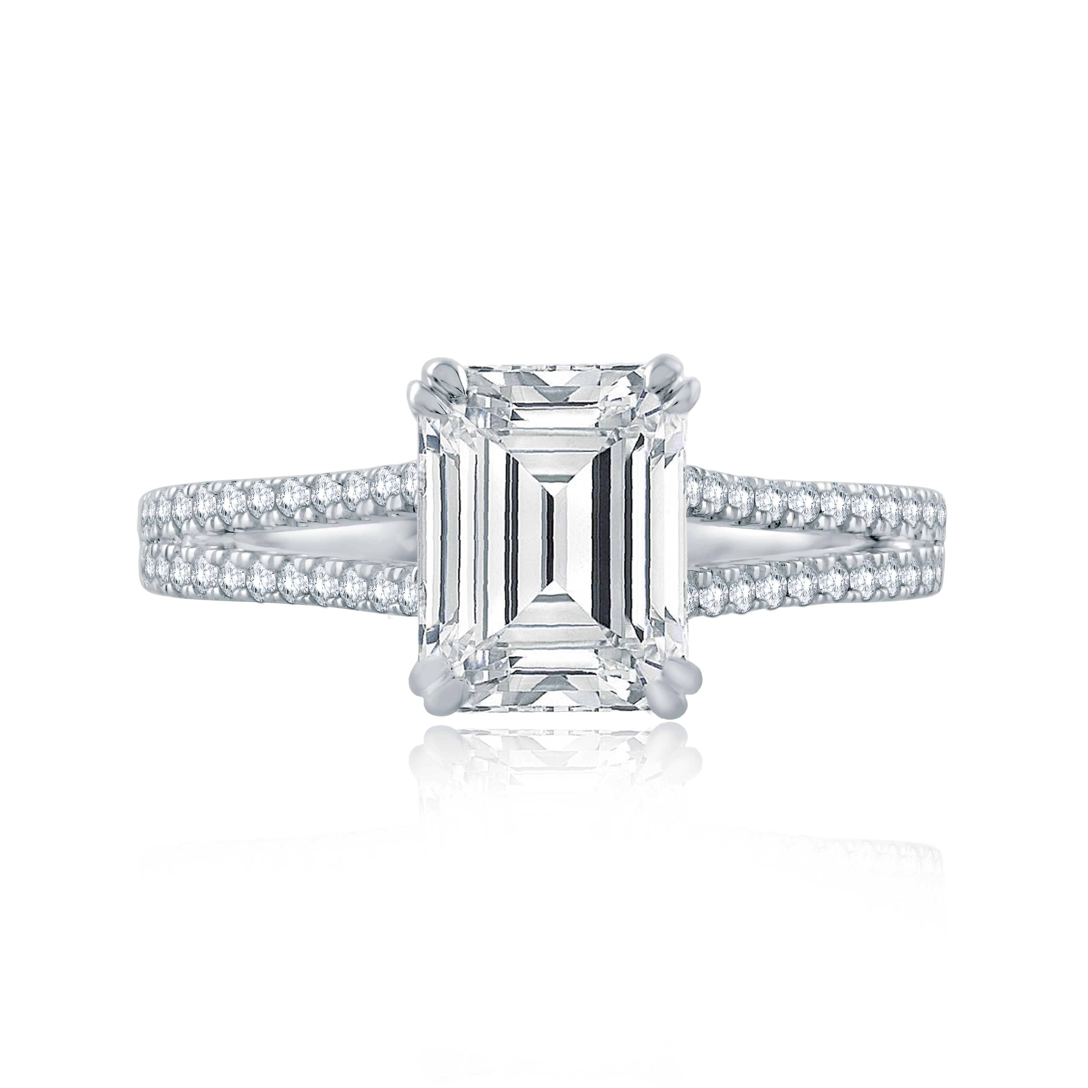Split Shank Double Prong Emerald Cut Center Solitaire