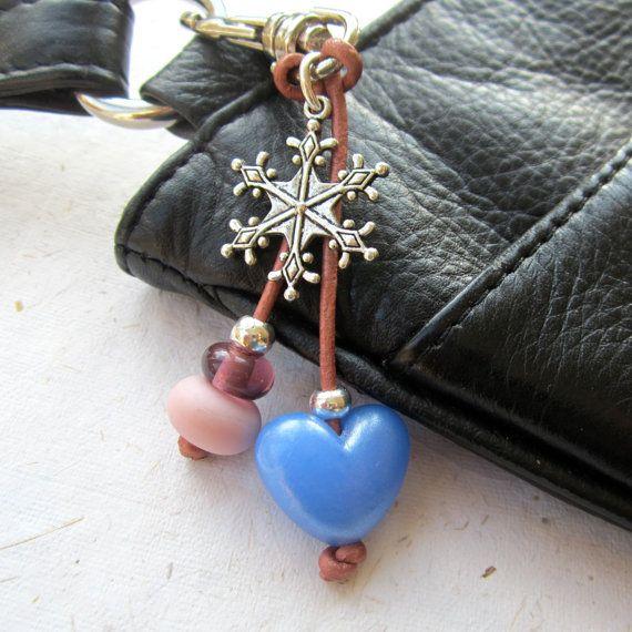 Beaded bag charm, key chain, lampwork beads, blue, snowflake charms ...