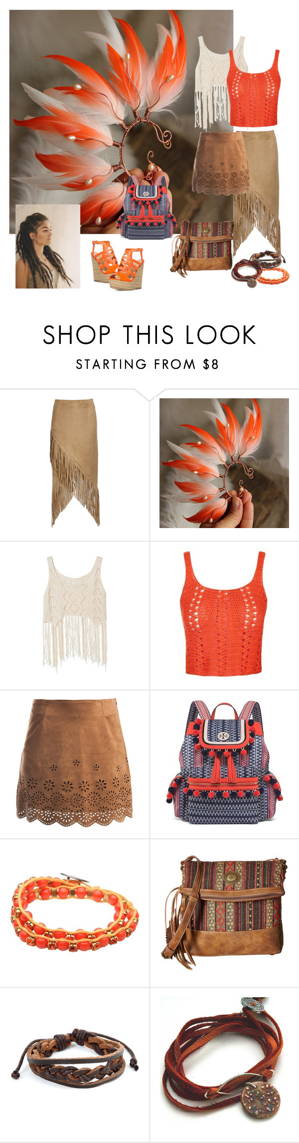 """Tribal Dance"" by nastasy-eu ❤ liked on Polyvore featuring Nightwalker, Topshop, Sans Souci, Tory Burch, MIVIU, American West and West Coast Jewelry"