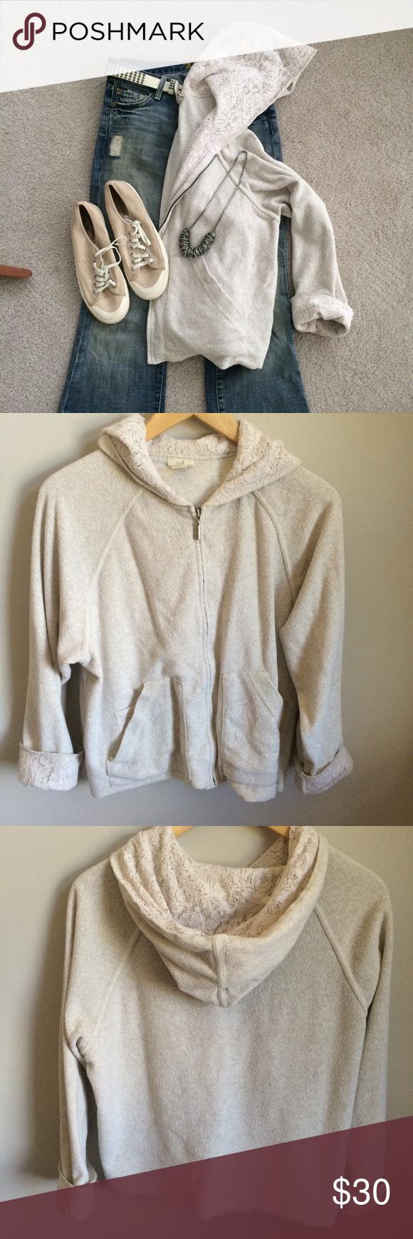 JJill Sweatshirt with Lace Oatmeal colored zip front hooded sweatshirt. Lace inside hood, along zipper and at cuffs. Very good condition. J. Jill Tops Sweatshirts & Hoodies
