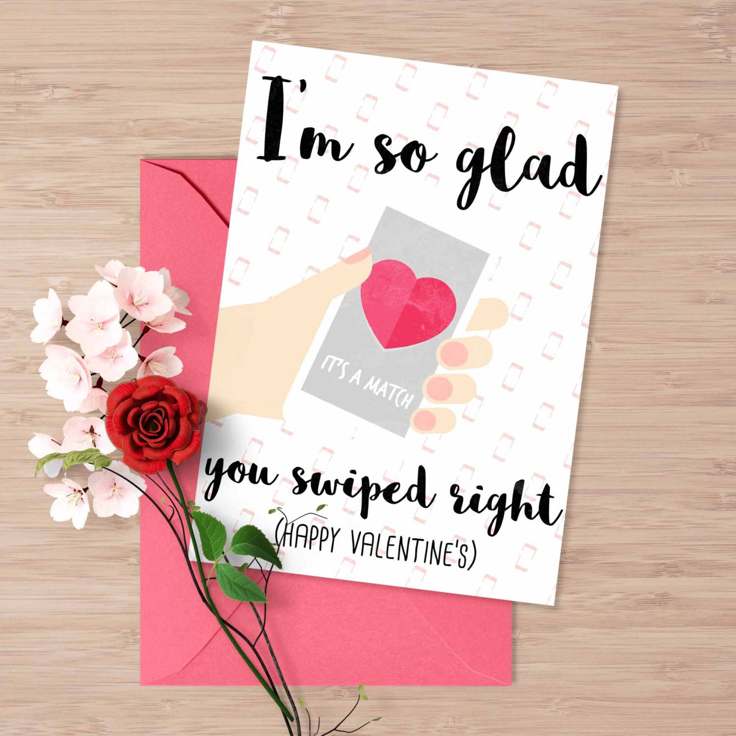 new to designgenesstudio on etsy tinder valentines day card i am so glad you swiped right tinder funny valentines card card for him card for her online - Etsy Valentines Day Cards