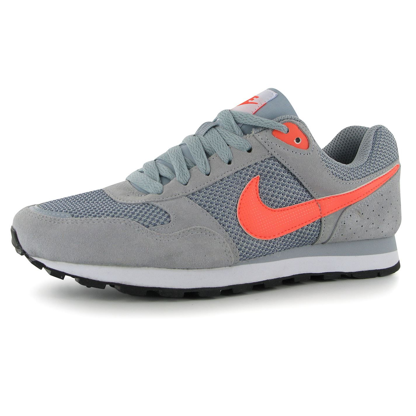 Men Shoes - Nike MD Runner Suede Running Shoes Grey/White/Volt