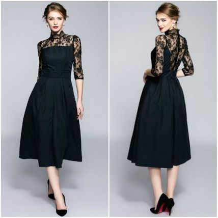 72923237eba ドレス-ミニ・ミディアム ハイネック レースシースルー 五分袖 ミモレ丈ワンピース ドレス