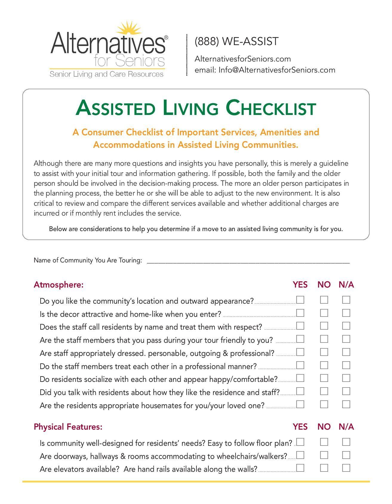 Assisted Living Checklist Alternatives For Seniors
