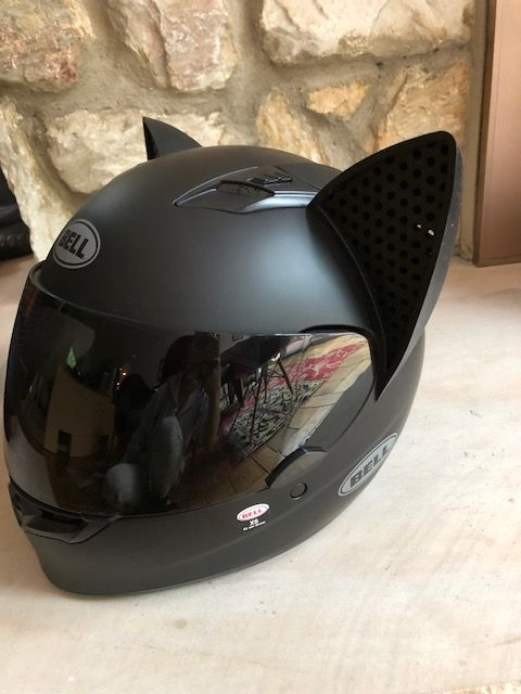 Photo of Cat Ear Helmet Upgrade: BLACK | Easy Peel-and-Stick Helmet Accessory with 5 Colored Decals included