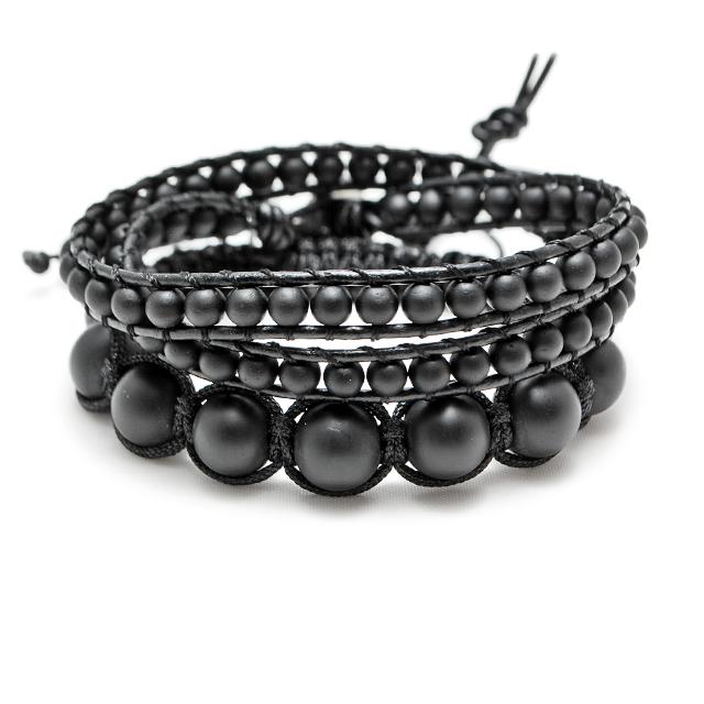 Pack de bijoux Tibétain & Wrap Couleur Noir Mat