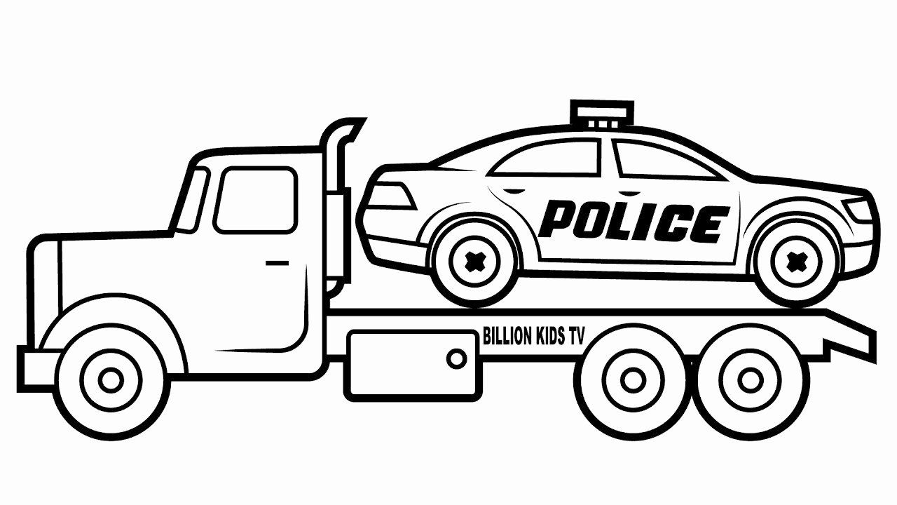 Police Car Carrier Truck Colouring Pages Learn Colors For Kids