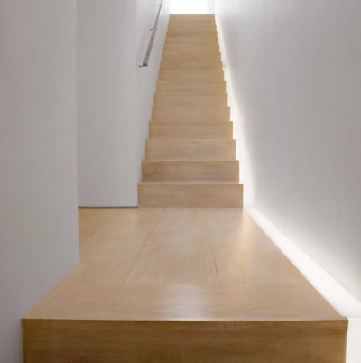 :: INTERIORS :: heart John Pawson's Private Residence  cool lighting on the stairs plus flooring