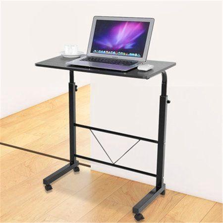 New Mobile Laptop Desk Computer Side Table Portable Rolling Adjustable Cart