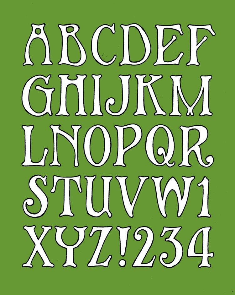 Art nouveau style alphabet, made in the style of a window ...