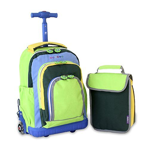 J World wheeled school bag with matching lunch bag. Neon green ...