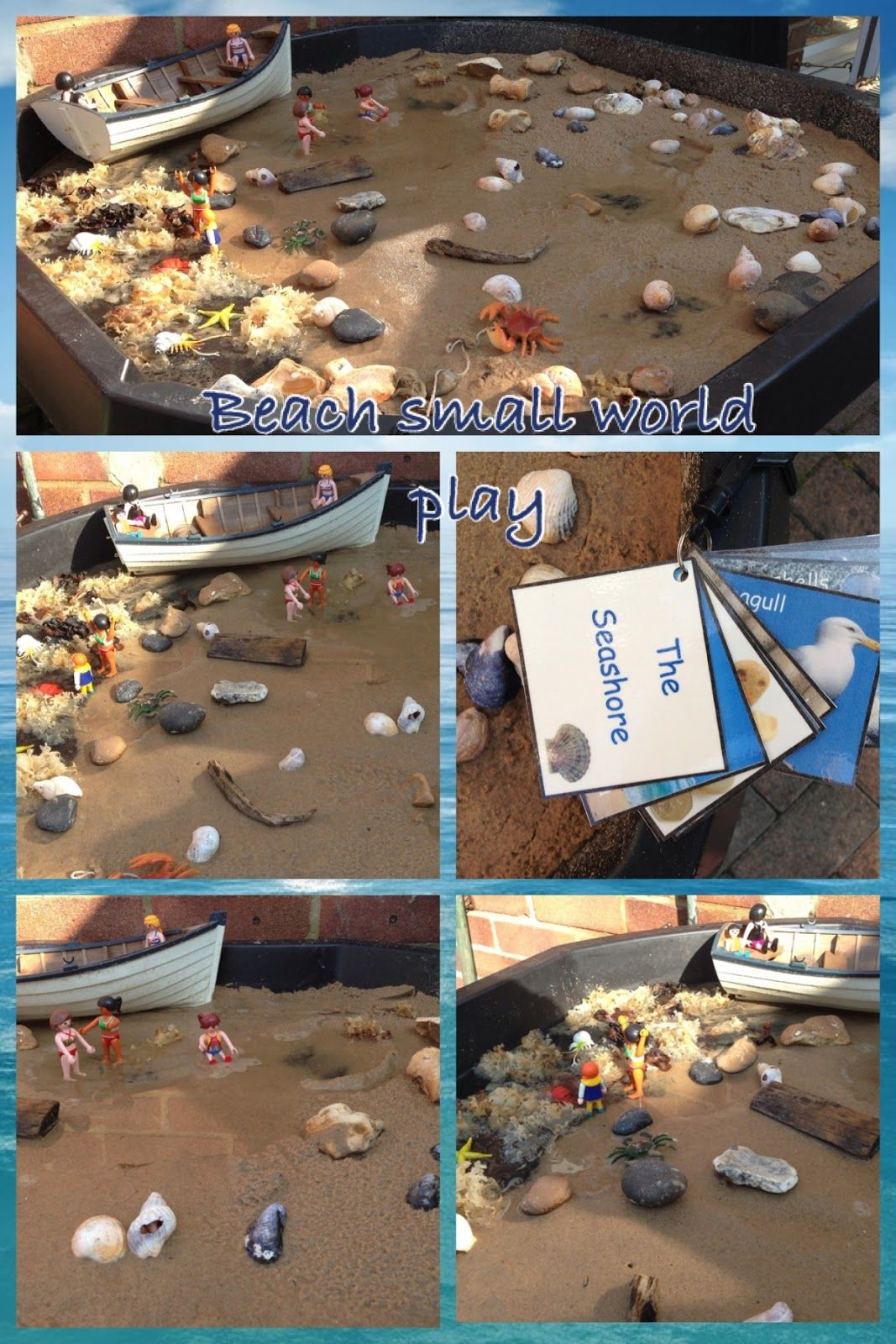 """Beach-themed small world play from Pre-school Play ("""",)"""