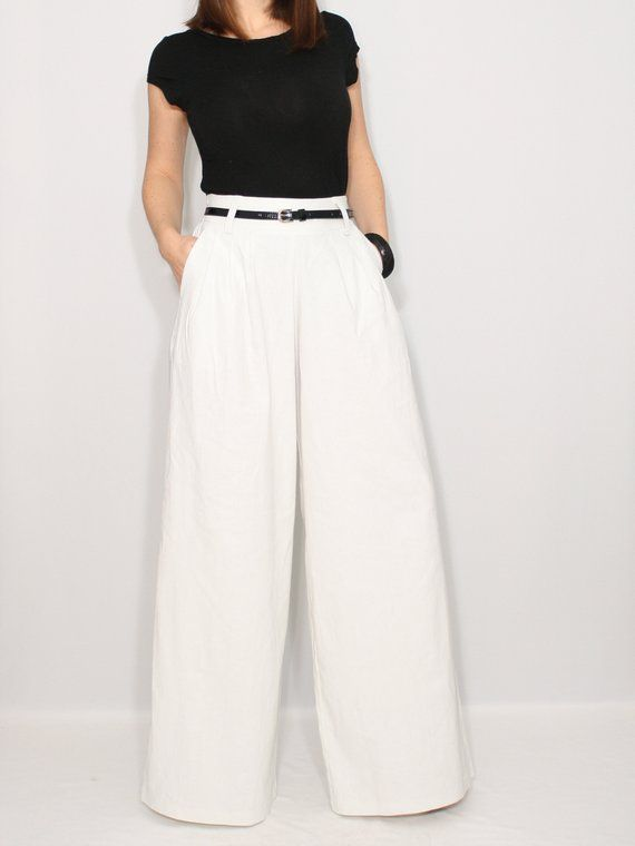 attractive style cost charm fashion styles Linen pants in white with pockets, wide leg pants, high ...