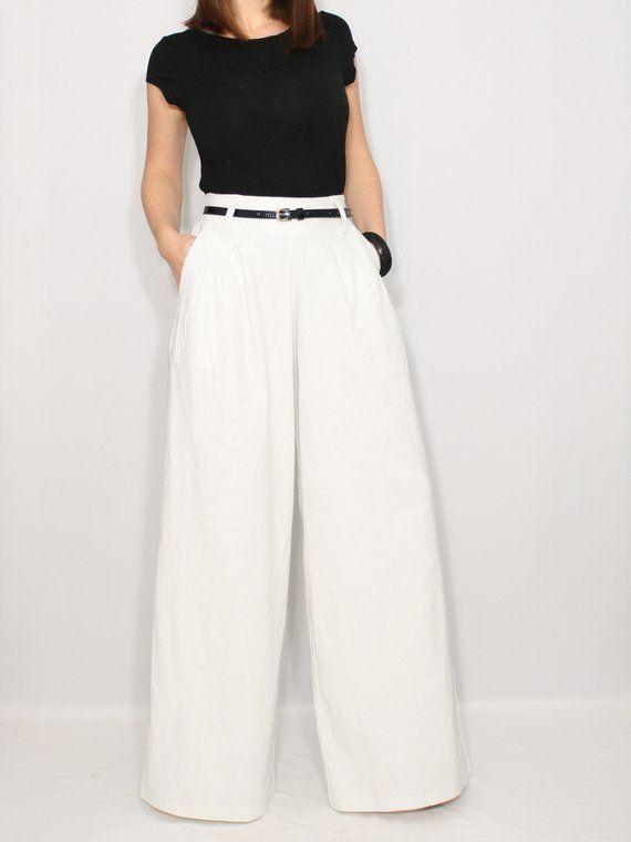 18de7fbd2c3 White linen wide leg pants White linen pants White linen trousers Linen  clothing