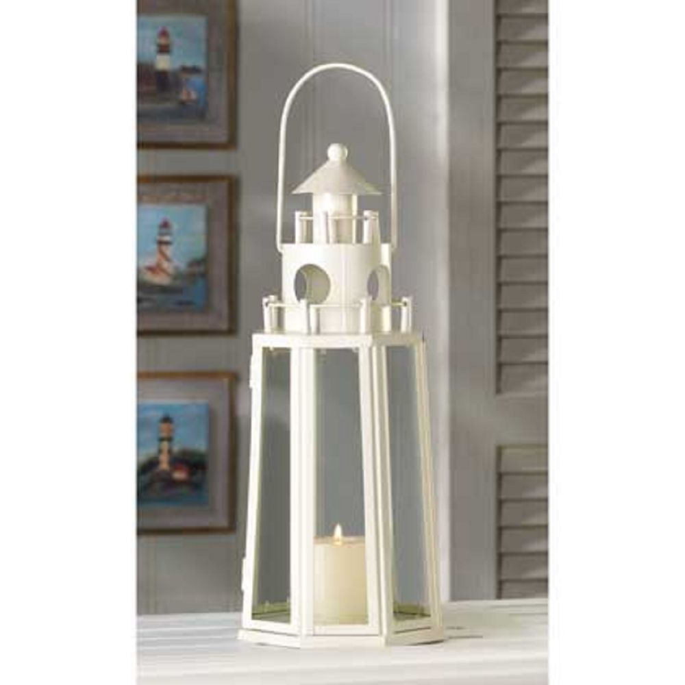 IVORY Lighthouse LANTERN Candle Holder WEDDING CENTERPIECE