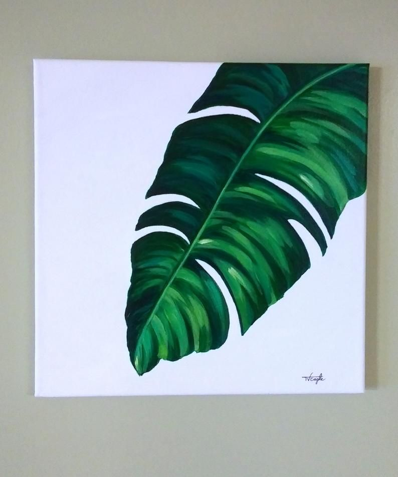 Tropical Leaf Paintings Etsy In 2020 Painted Leaves Painting Canvas Art Painting