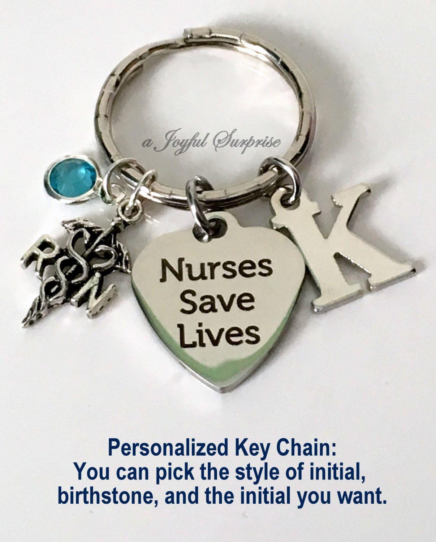 Nurses Save Lives Keychain, Personalized Nurse Keyring, RN