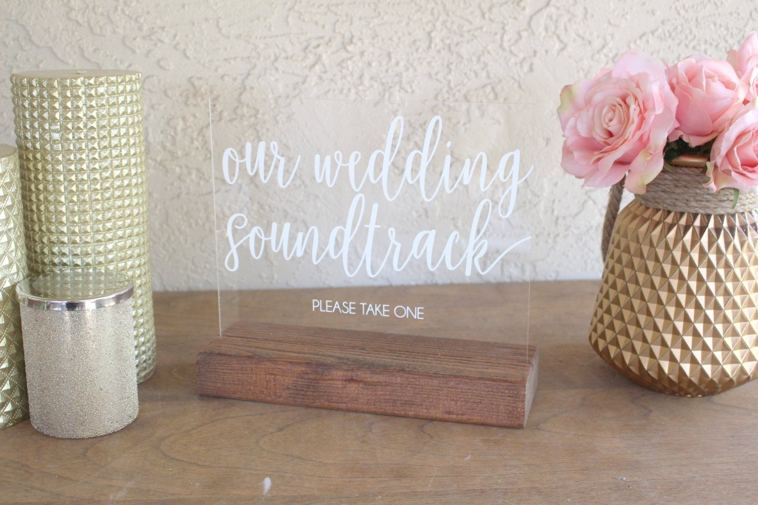 Wedding Soundtrack CD Favor Acrylic Sign | Soundtrack, Acrylics and ...