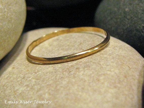 Gold Wedding Band. 14K Gold Wedding Ring. 1mm by EmilyWiserJewelry, $100.00
