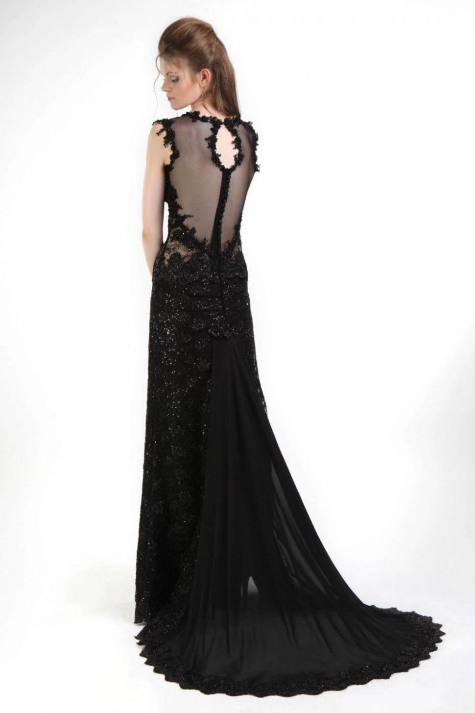 10 Abendkleid Lang Schwarz Spitze in 10  Abendkleid schwarz