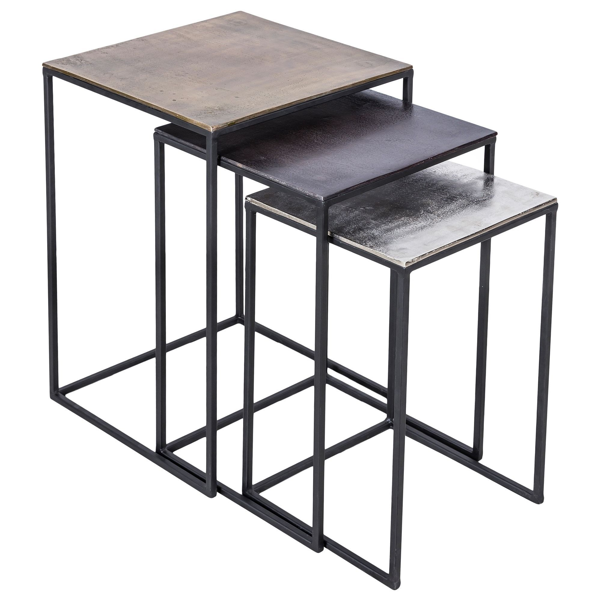 Set Of 2 Square Design Nesting Coffee Tables Made Of Black: Renwil Lionel Antique-brass-finished Aluminum And Matte