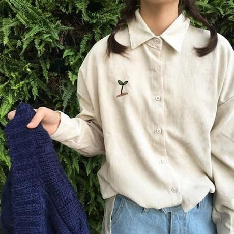Itgirl Shop Corduroy Plant Embroidery Long Collar Shirt Aesthetic