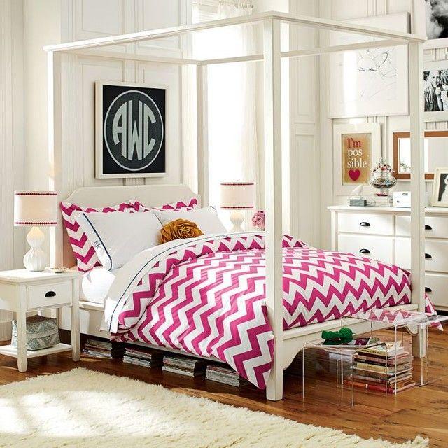 Teen Room Monochromatic White Bedroom Pottery Barn Teen Roseville With Pink Chevron Bedding Set For Big  sc 1 st  Pinterest & Teen Room Monochromatic White Bedroom Pottery Barn Teen Roseville ...