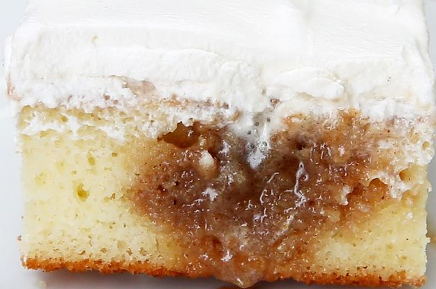 This Cinnamon Roll Poke Cake Is So Delicious It's Going To Make You Smile