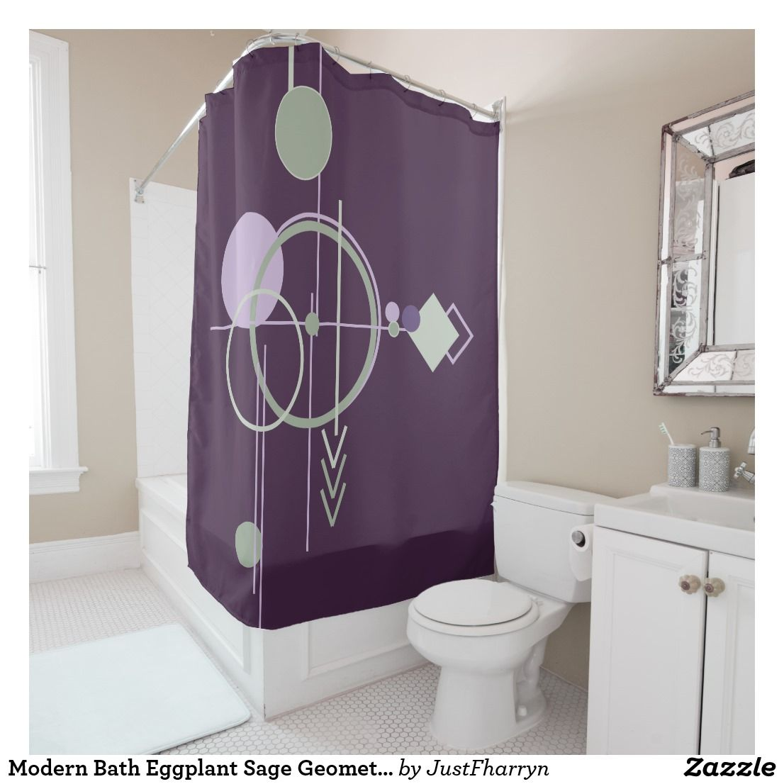 Modern Bath Eggplant Sage Geometric Shape Line Art Shower Curtain