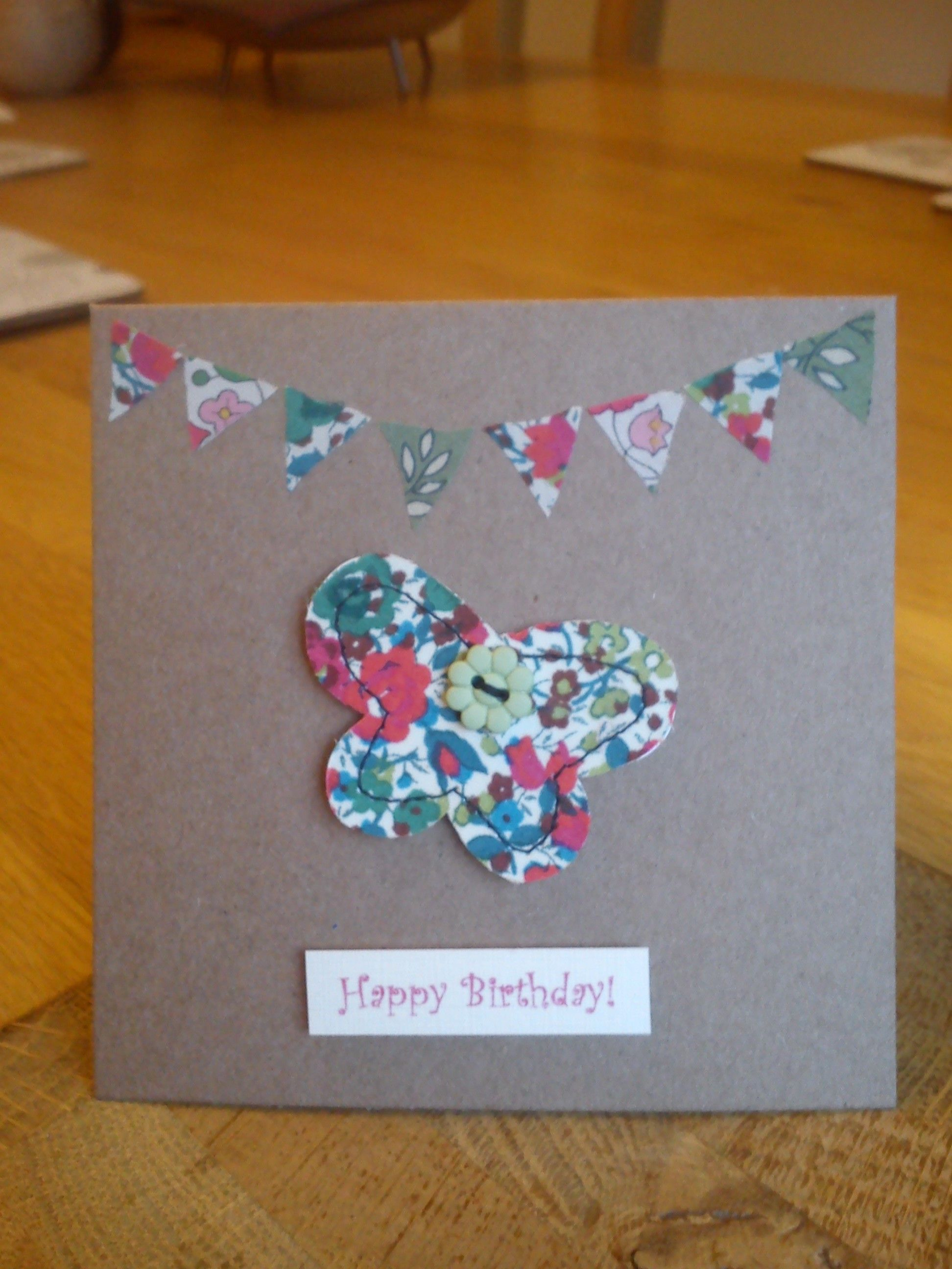 Hand Made Stitched Liberty Fabric Birthday Card