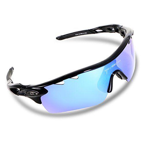 ec8f0dba251 RIVBOS 801 POLARIZED Sports Sunglasses Sun Glasses with 5 Interchangeable Lenses  for Men Women Baseball Cycling Running (Upgrade TR Black Ice Lens)    Check  ...