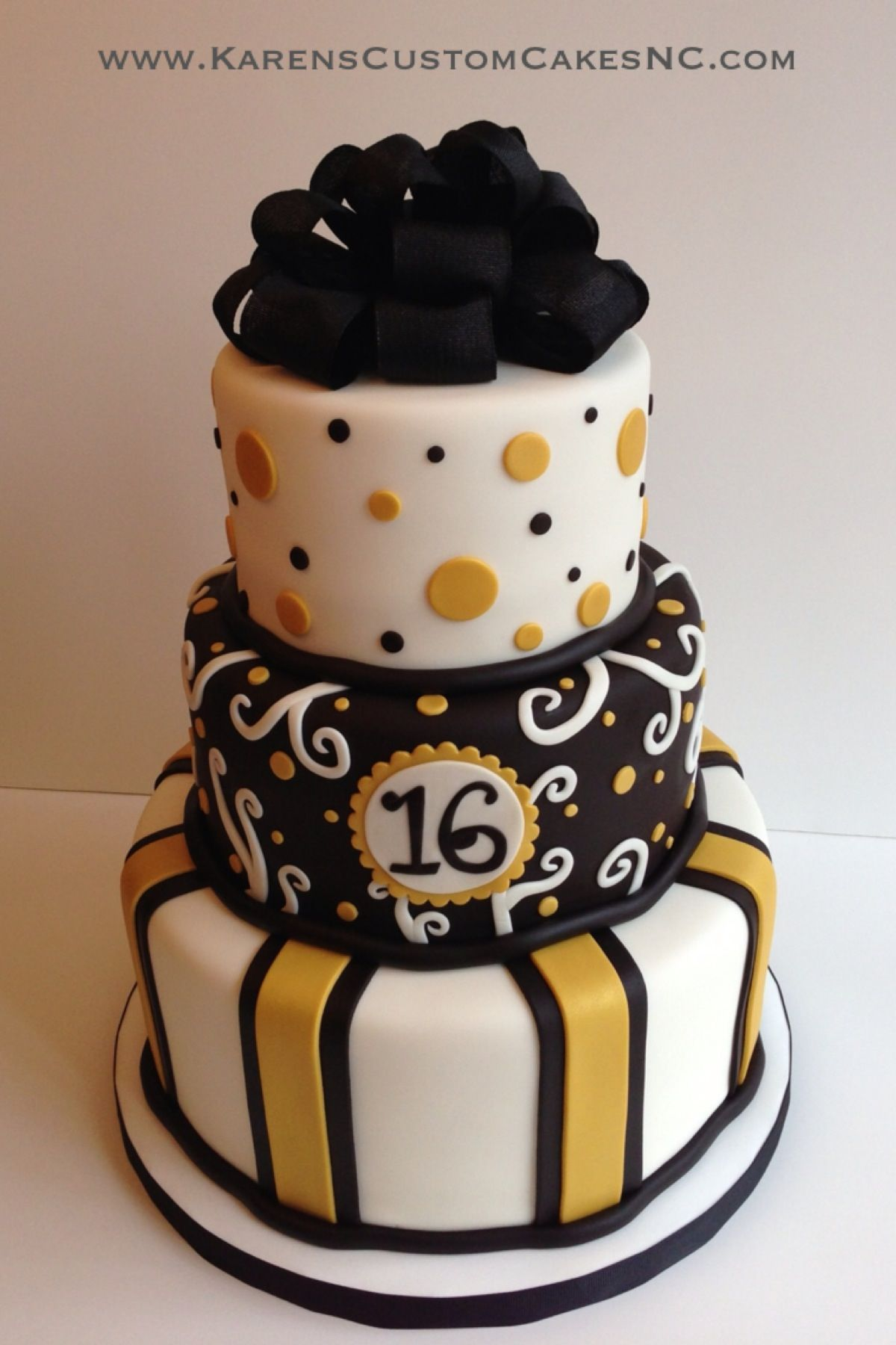 3 Tier All Fondant Cake 10 8 6 White Gold And Black Real