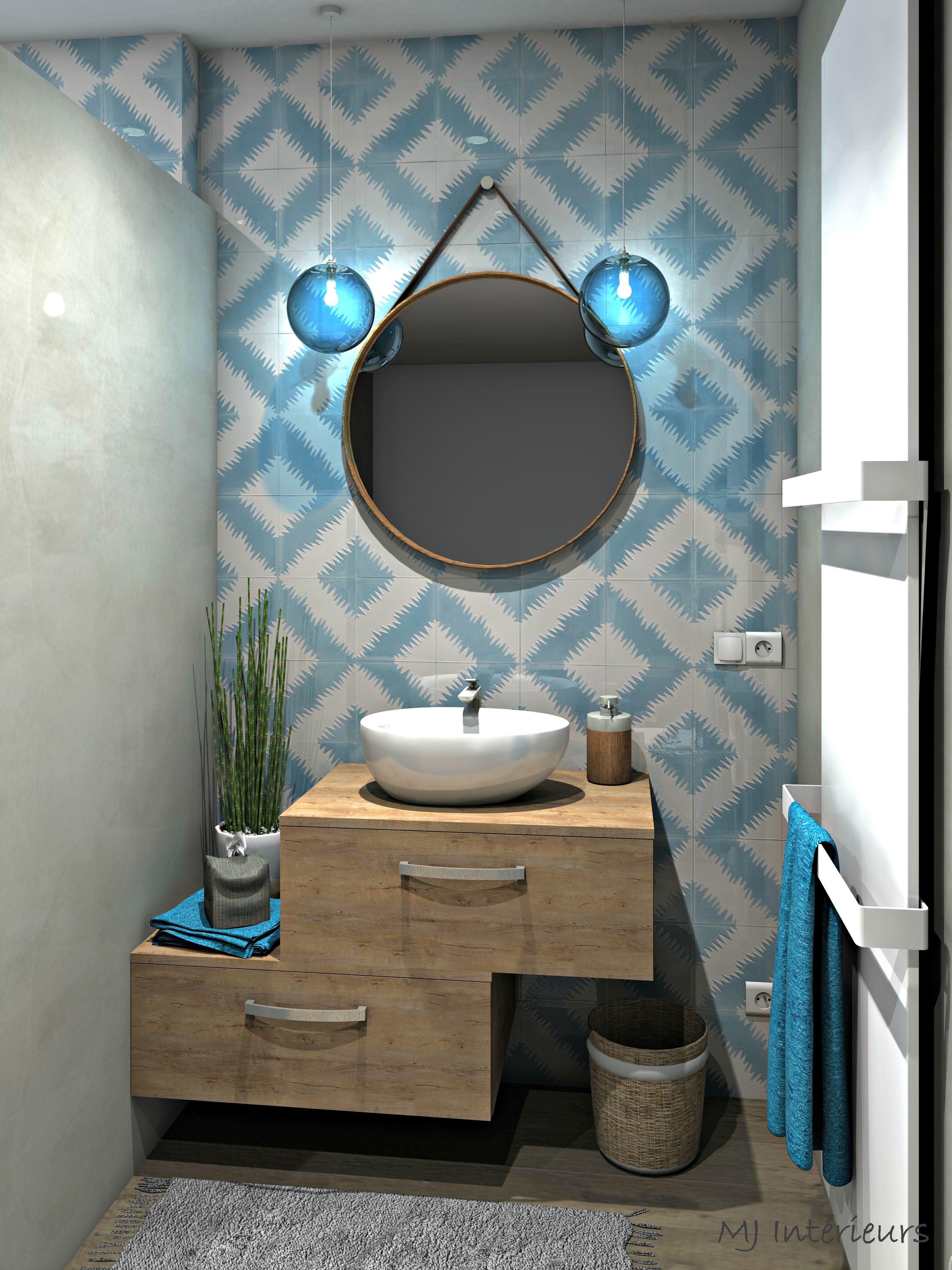 Salle de bain esprit méditerranéen avec murs en tadelakt gris chaud ...