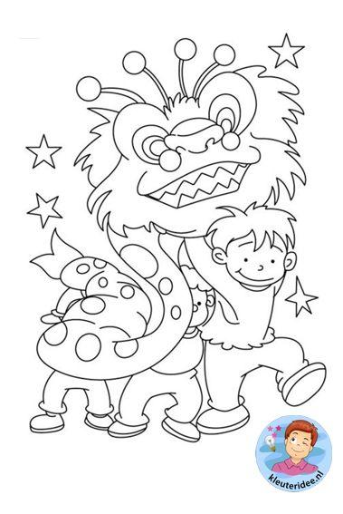 Kleurplaten Chinese Draak.Kleurplaat Drakendans Colorpage Chinese Ldragondance Kleuteridee