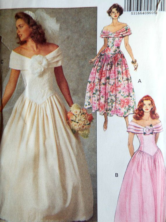 Butterick out of print sewing pattern 5252 Gorgeous drop waist bodice with a full skirt and off the shoulder detail. Choice of lengths Sizes 34, 36