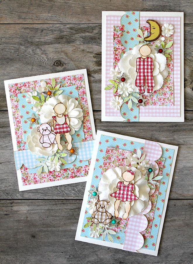 Cards and more on Live with Prima-see how you can create a sweet trio of baby cards using the Julie Nutting Baby doll stamps and paper pad #ustream #baby #stamps #card #cardmaking #flowers