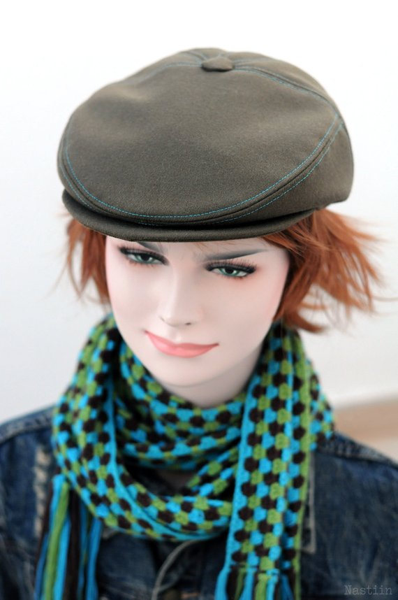 030ede3018e05 Army green newsboy hat Womens newsboy cap Mens paperboy hat Flat hat ...