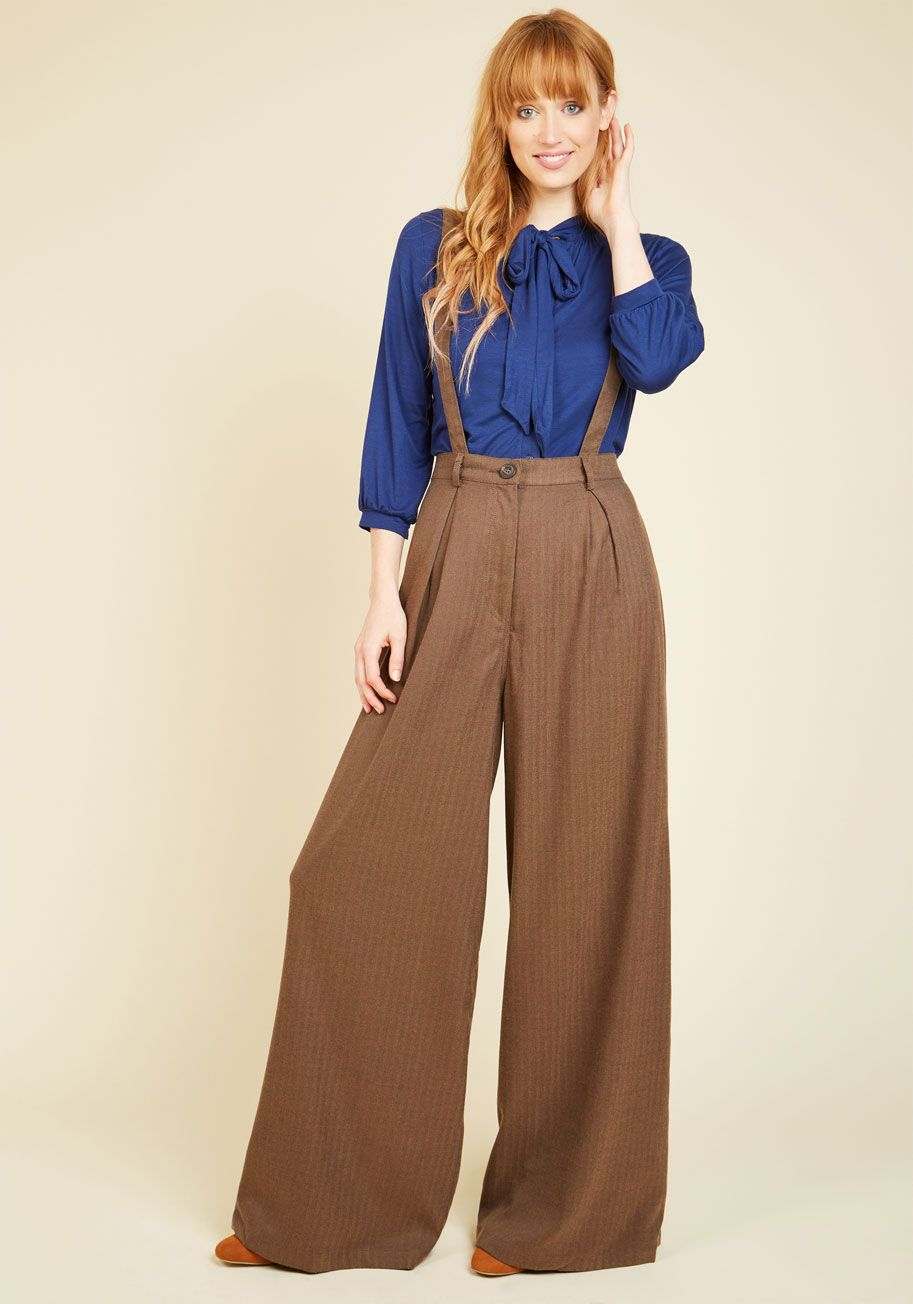 Conference Room Coffee Pants In Brown Modcloth High Waisted Pants Vintage Pants Suspender Pants