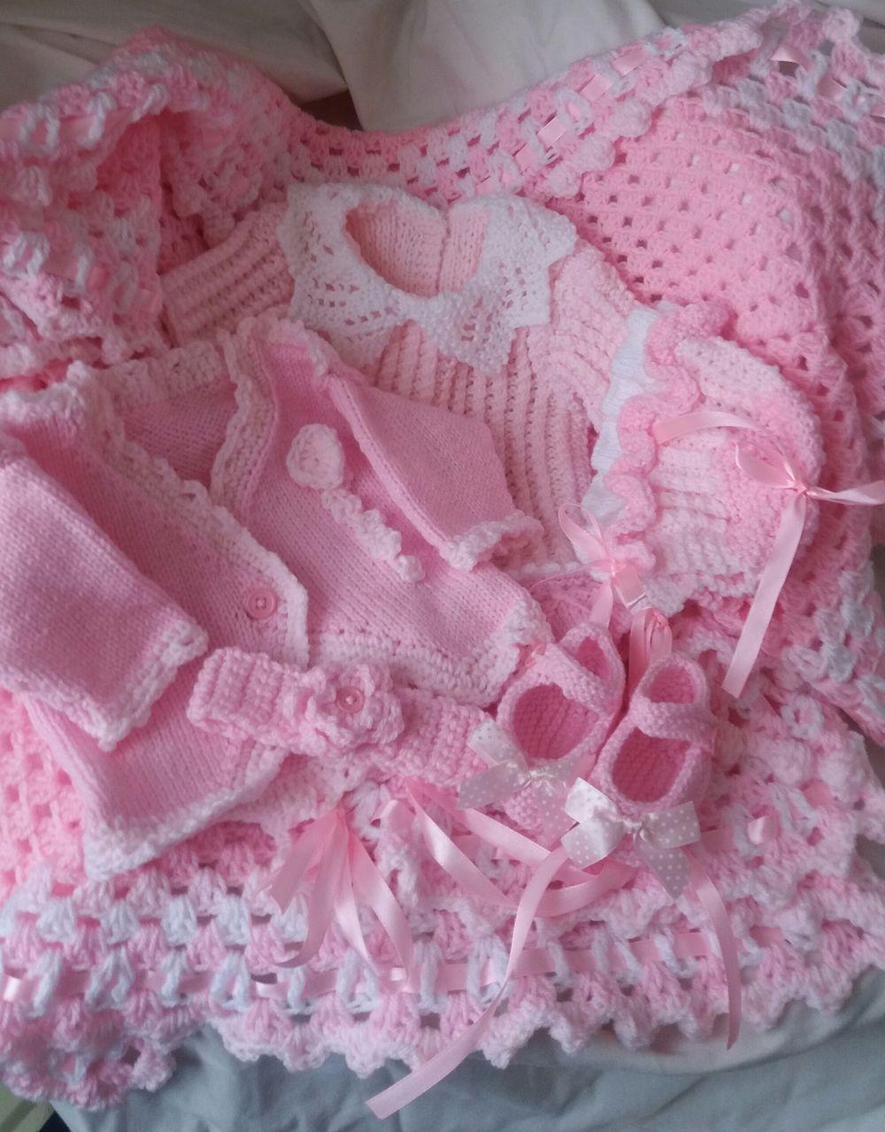 HAND KNITTED BABY LAYETTE SET Baby Dress Bolero Bonnet | Vintage ...