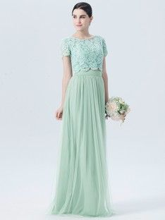 85b3b9fe83 Lace Tulle 2 Piece Dress with Short Sleeves  Color  Pastel Green  Fabric   Lace  Fabric  Tulle  Fabric  Chiffon